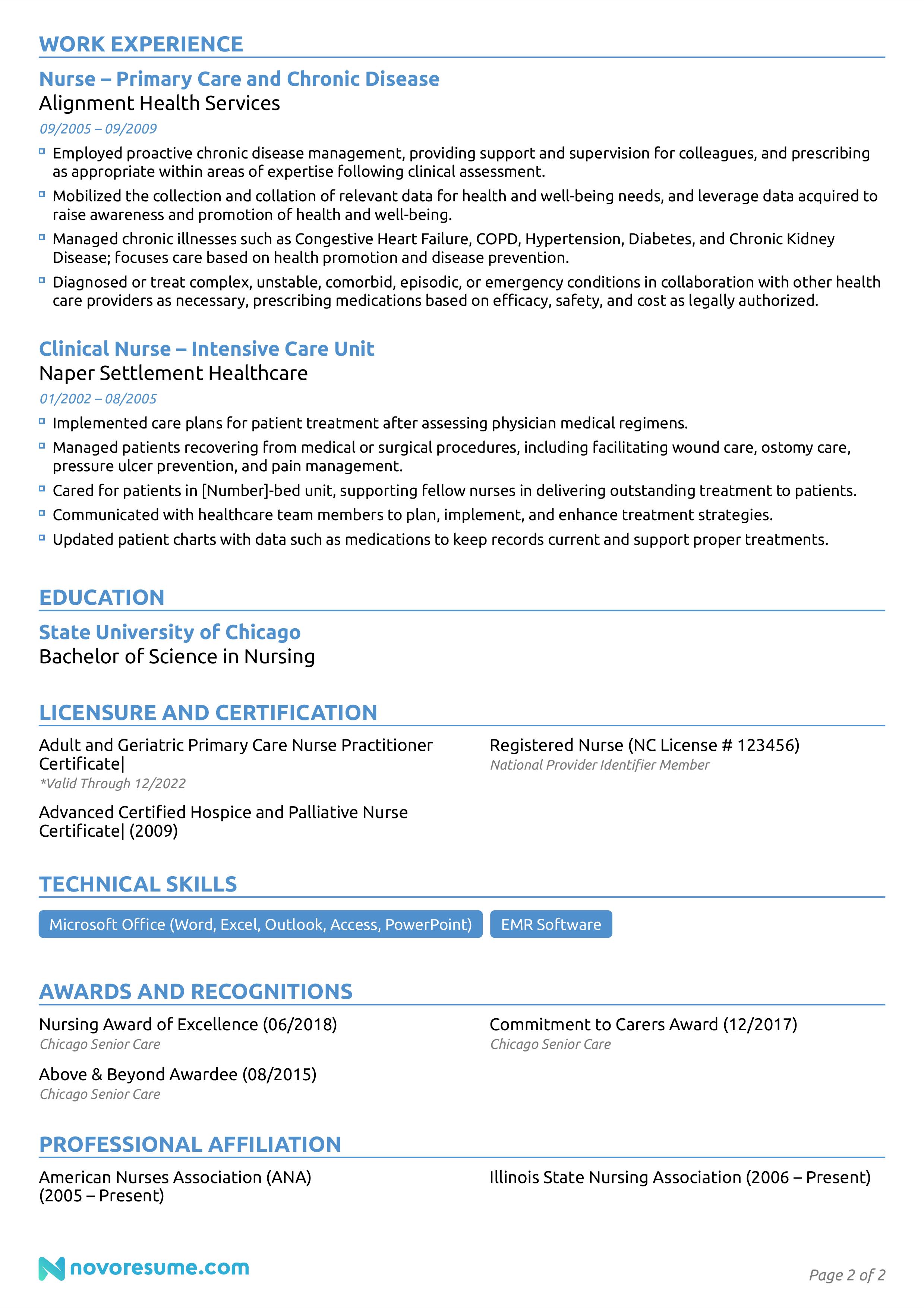 registered nurse resume example page 2