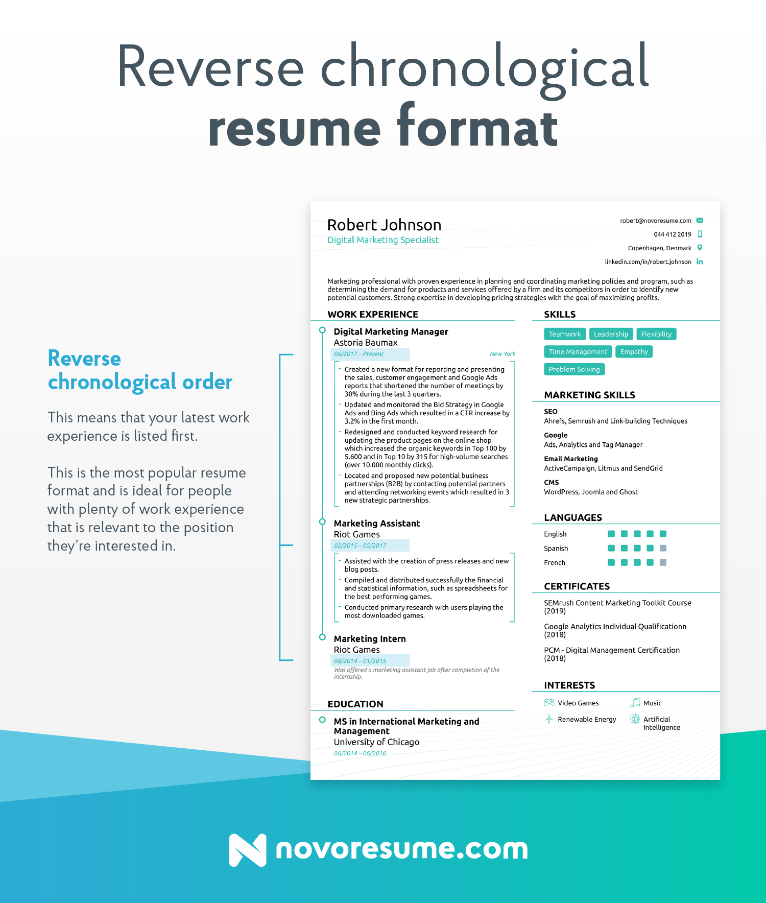 reverse chronological resume nurese