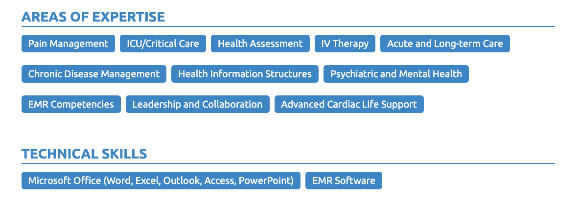 skills for nurse resume