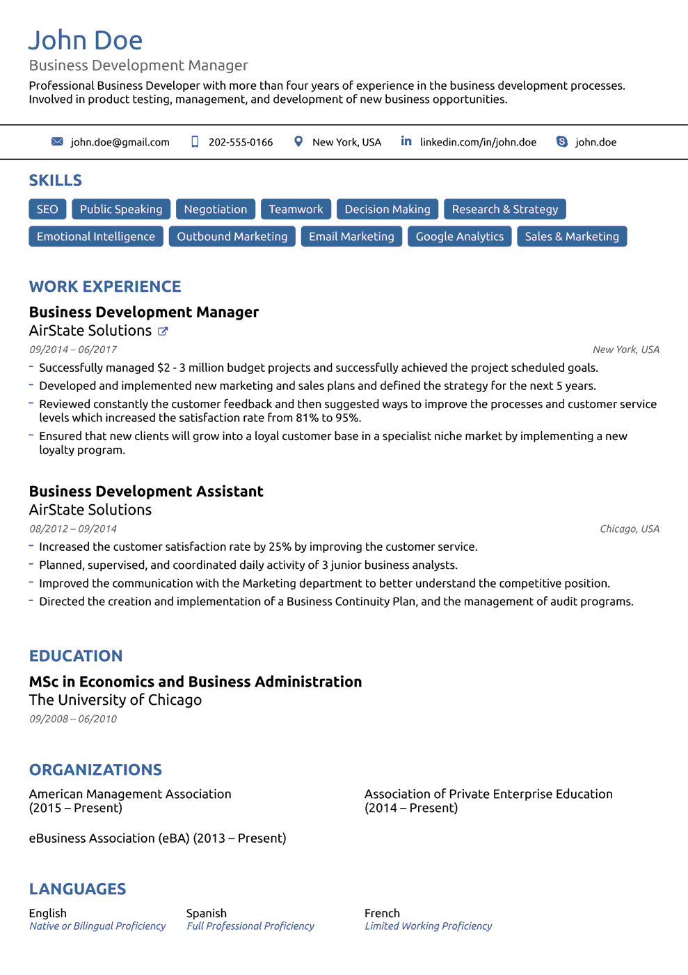 basic one page resume template