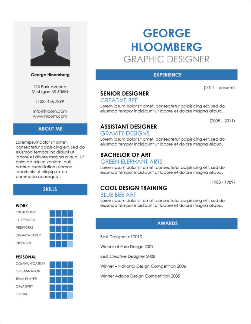creative one page google docs resume template