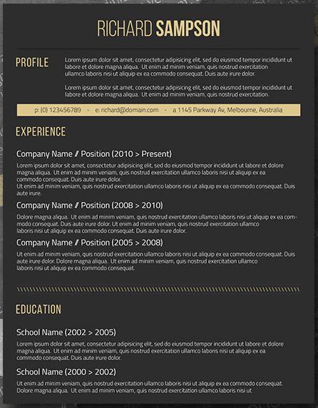 elegant dark microsoft word one page resume template