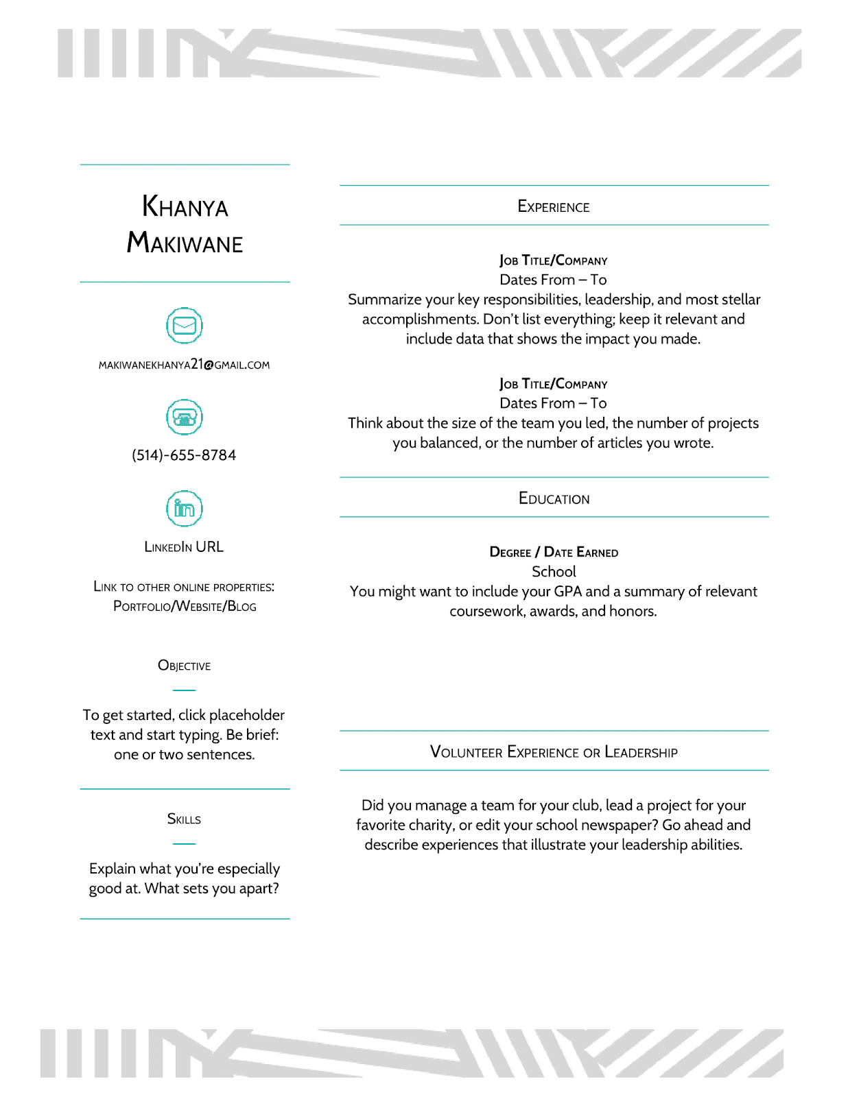 google doc one page resume