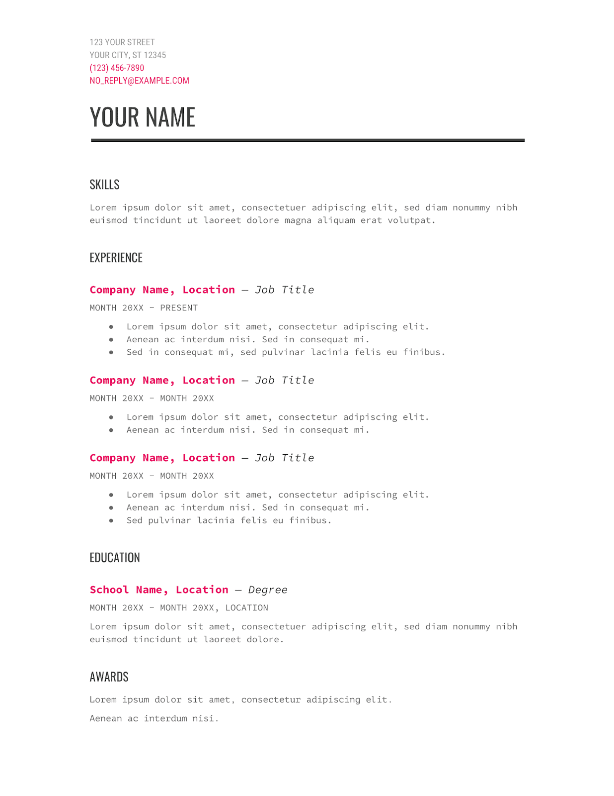 modern one page google docs resume template