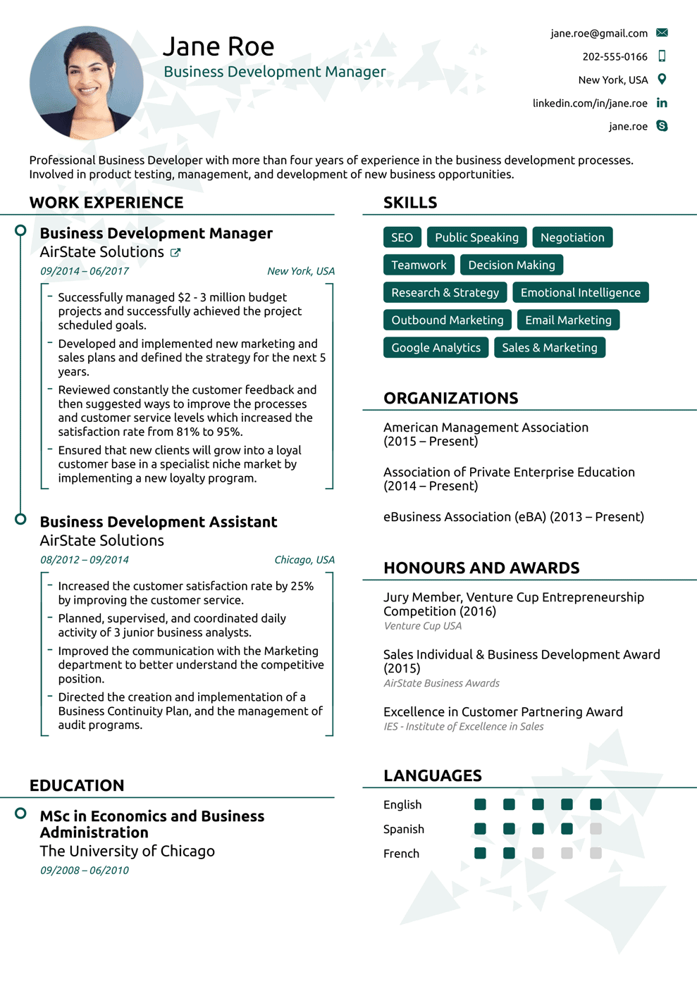 modern one page resume template