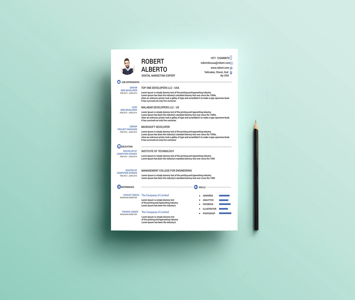 one page clean microsoft word resume template