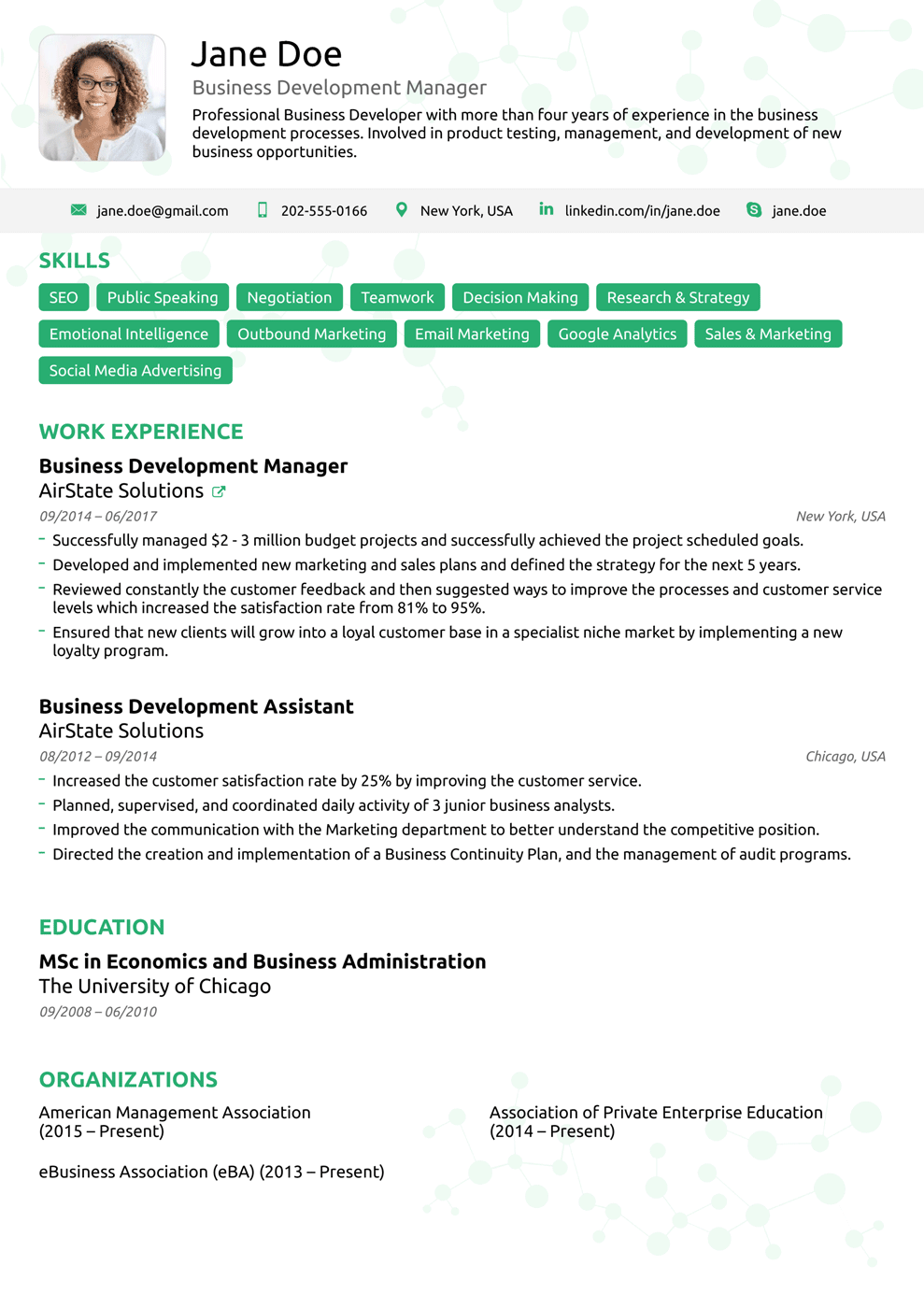 one page executive resume template