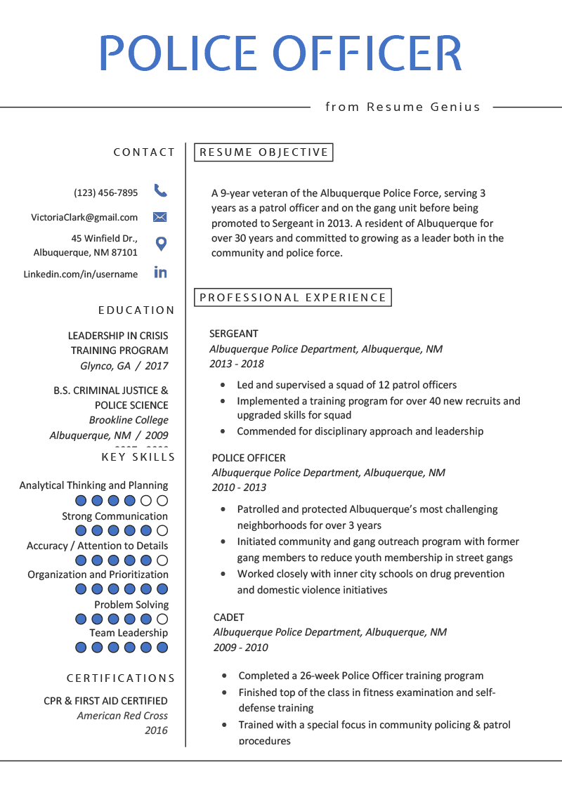 one page police officer resume