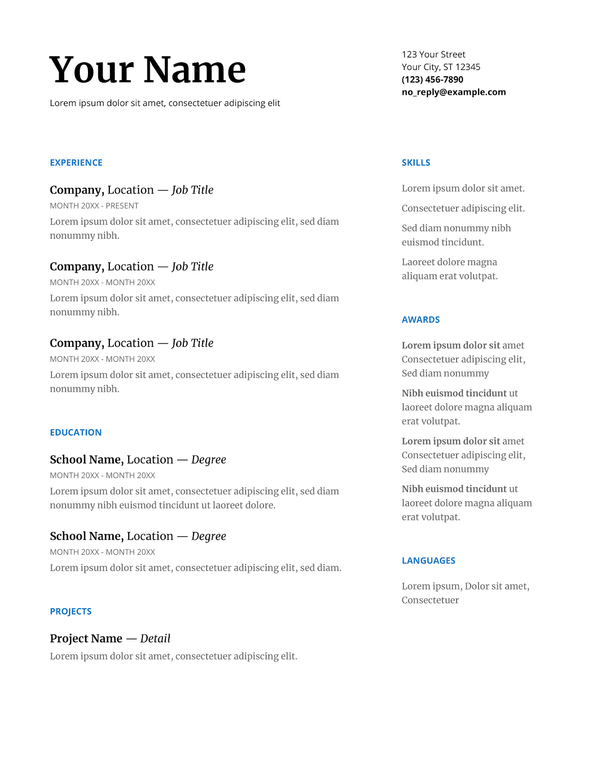 one page serif google doc resume template