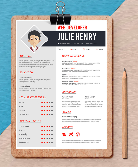 one page web designer word resume template