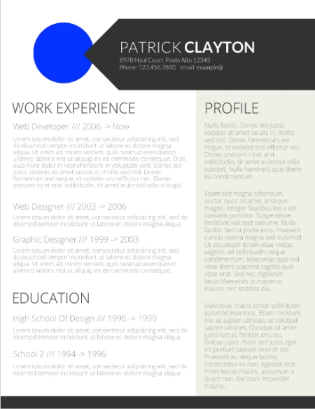 professional one page google doc resume template