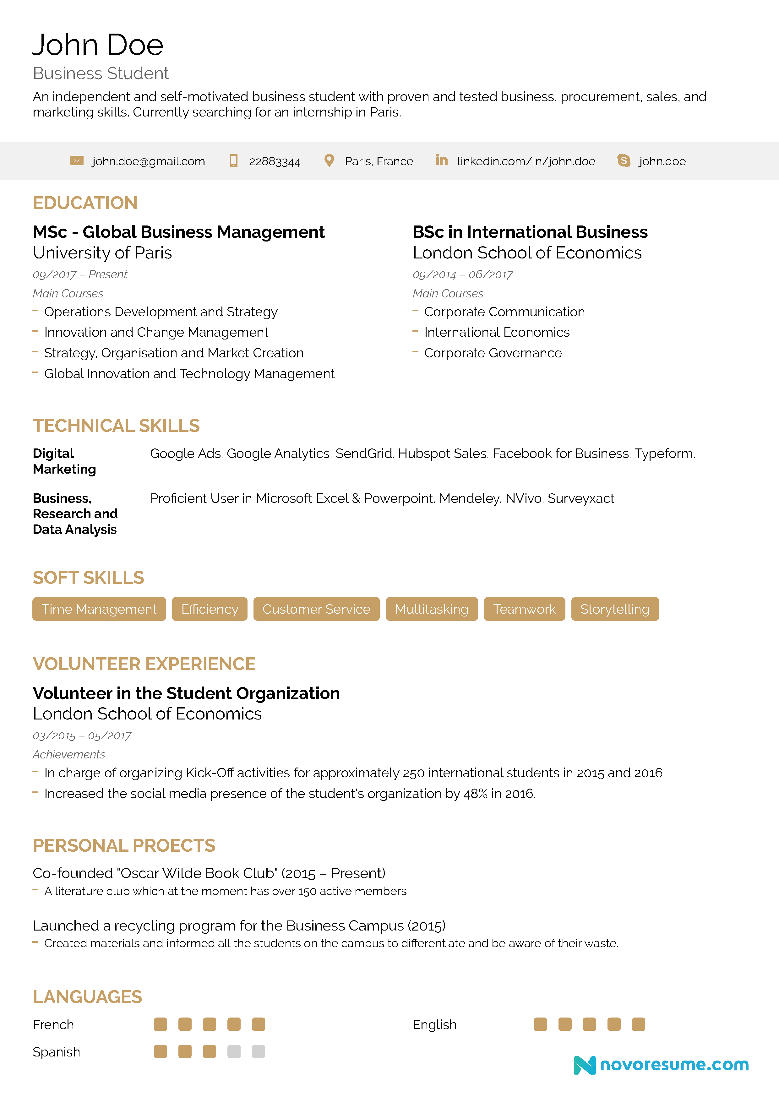 student one page resume template