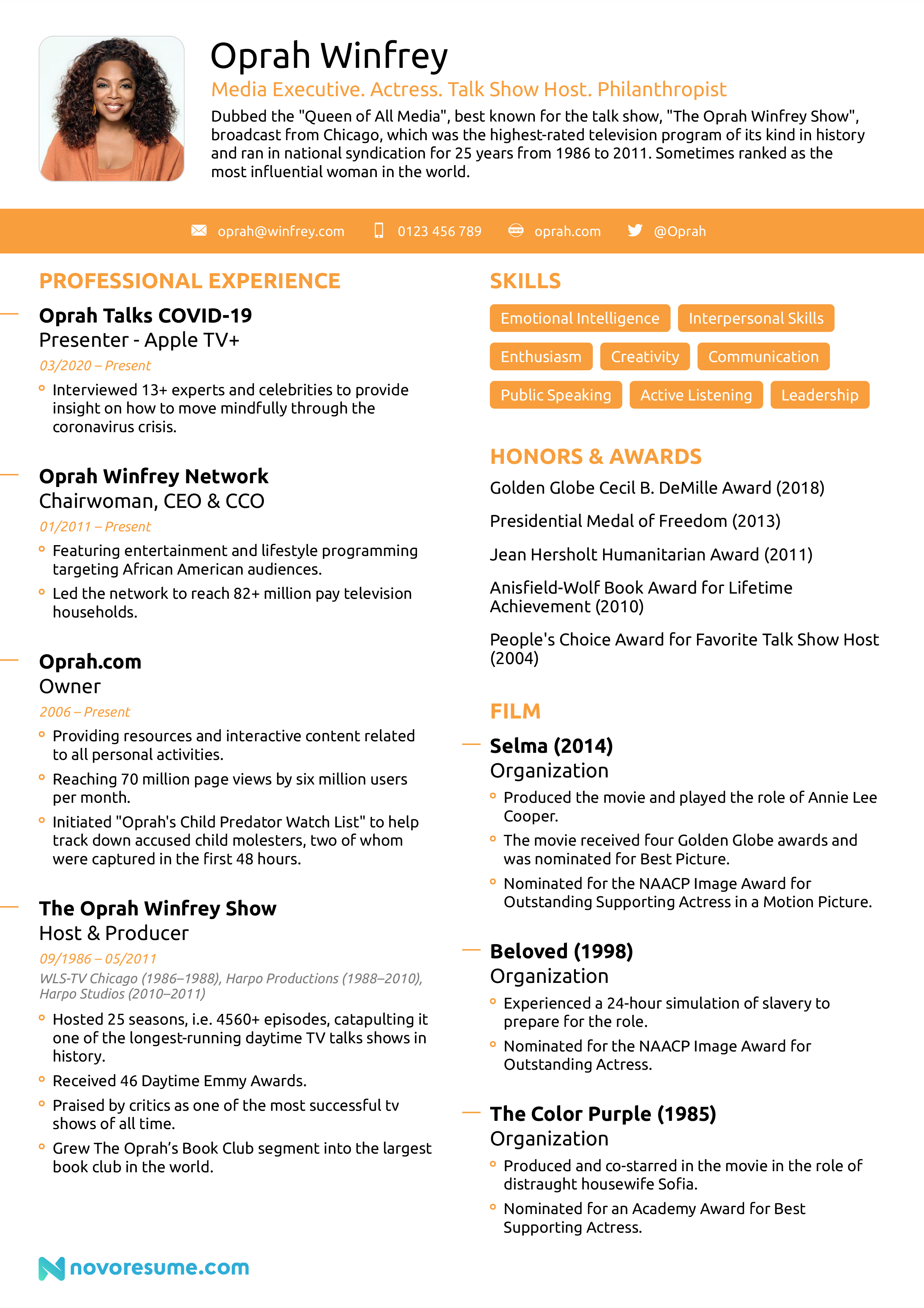 oprah winfrey resume