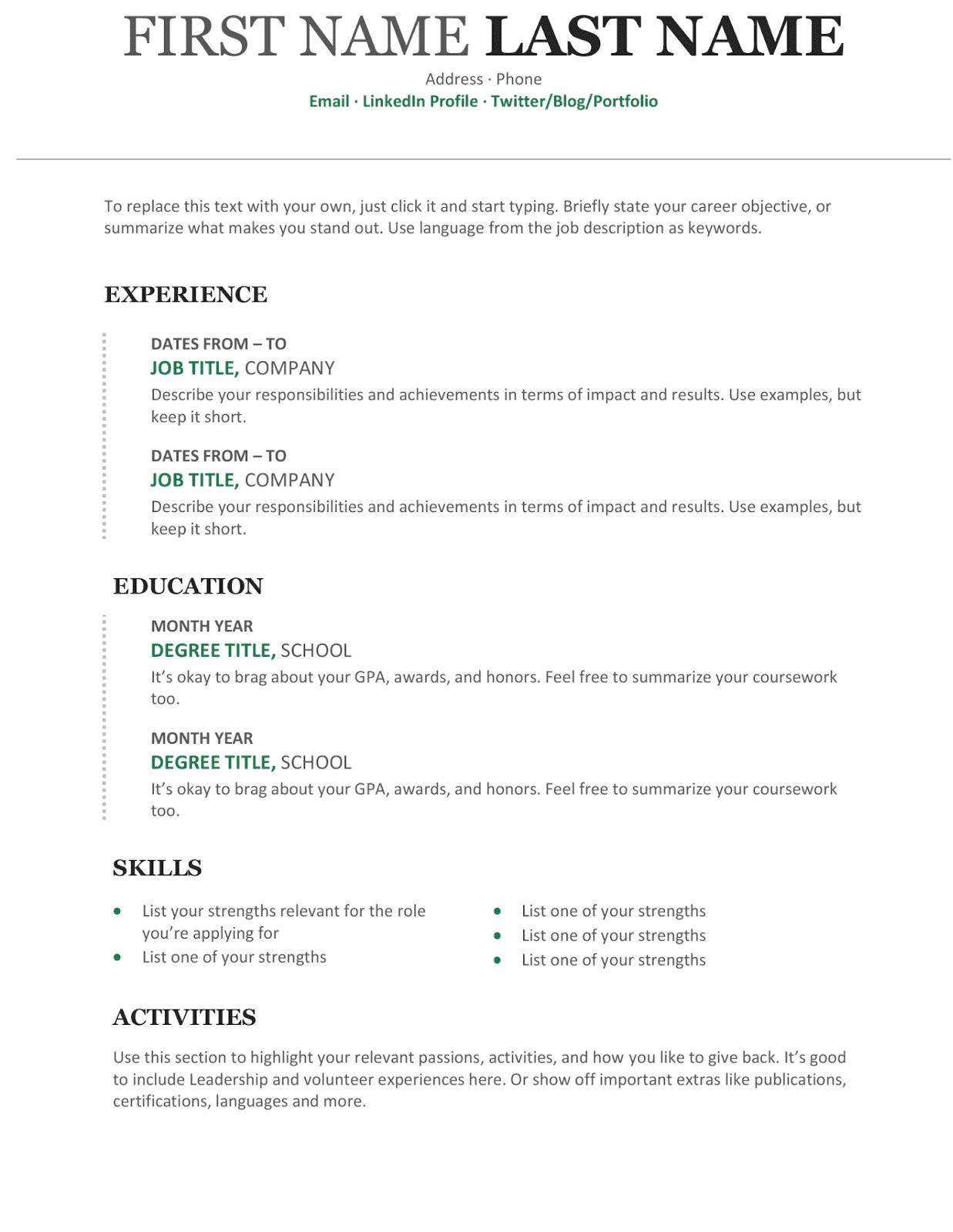 Modern Chronological Resume ms word