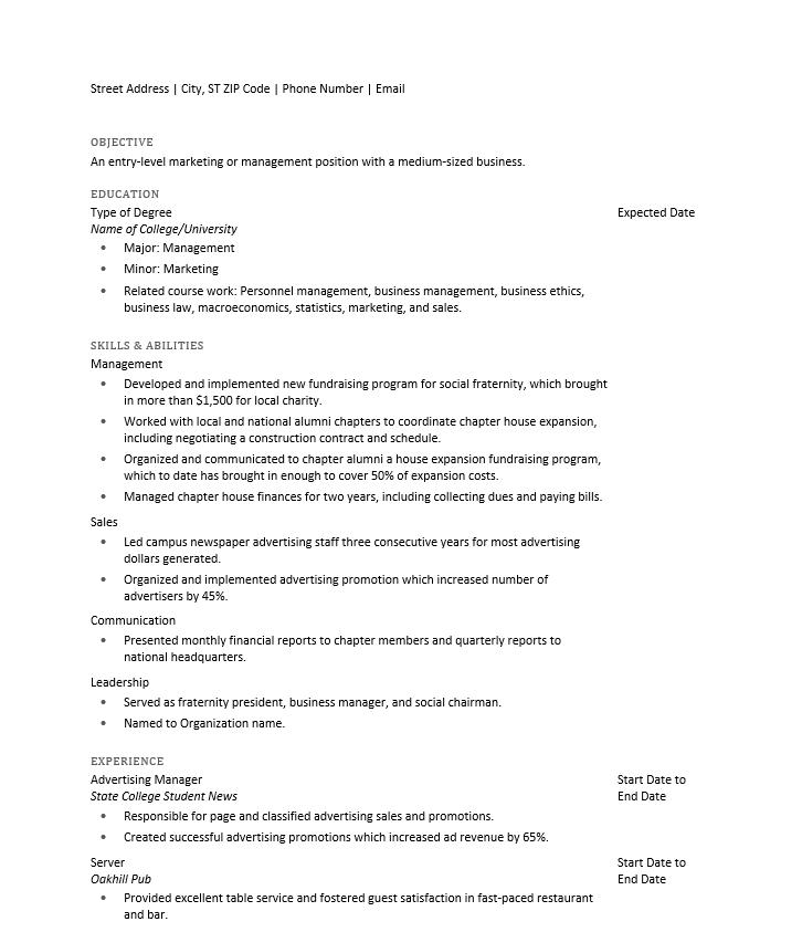 simple college resume ms word
