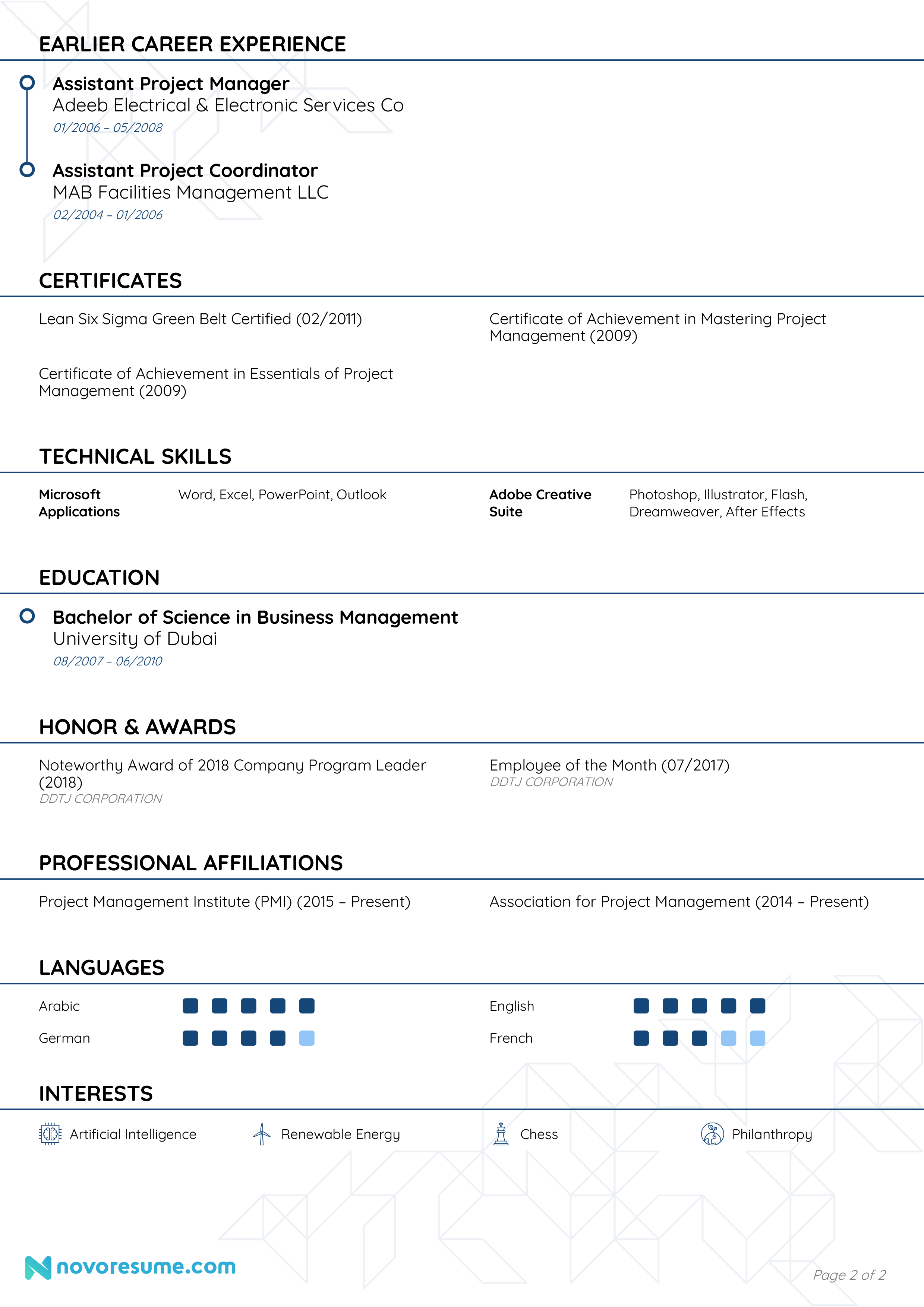 program manager resume page 2