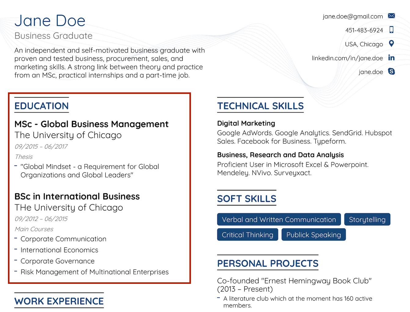 sample internship resume no experience