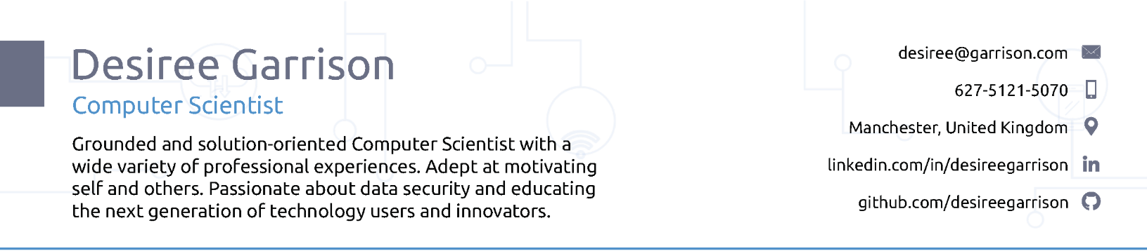 Computer Scientist Resume Header Example