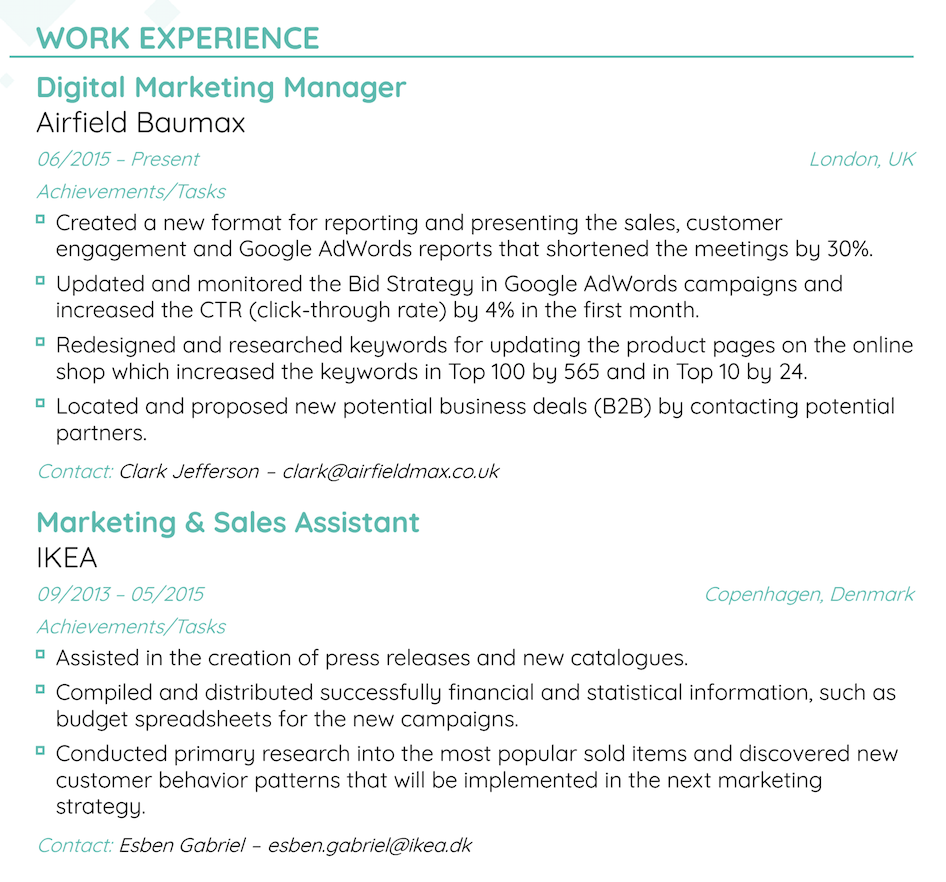 resume experience layout