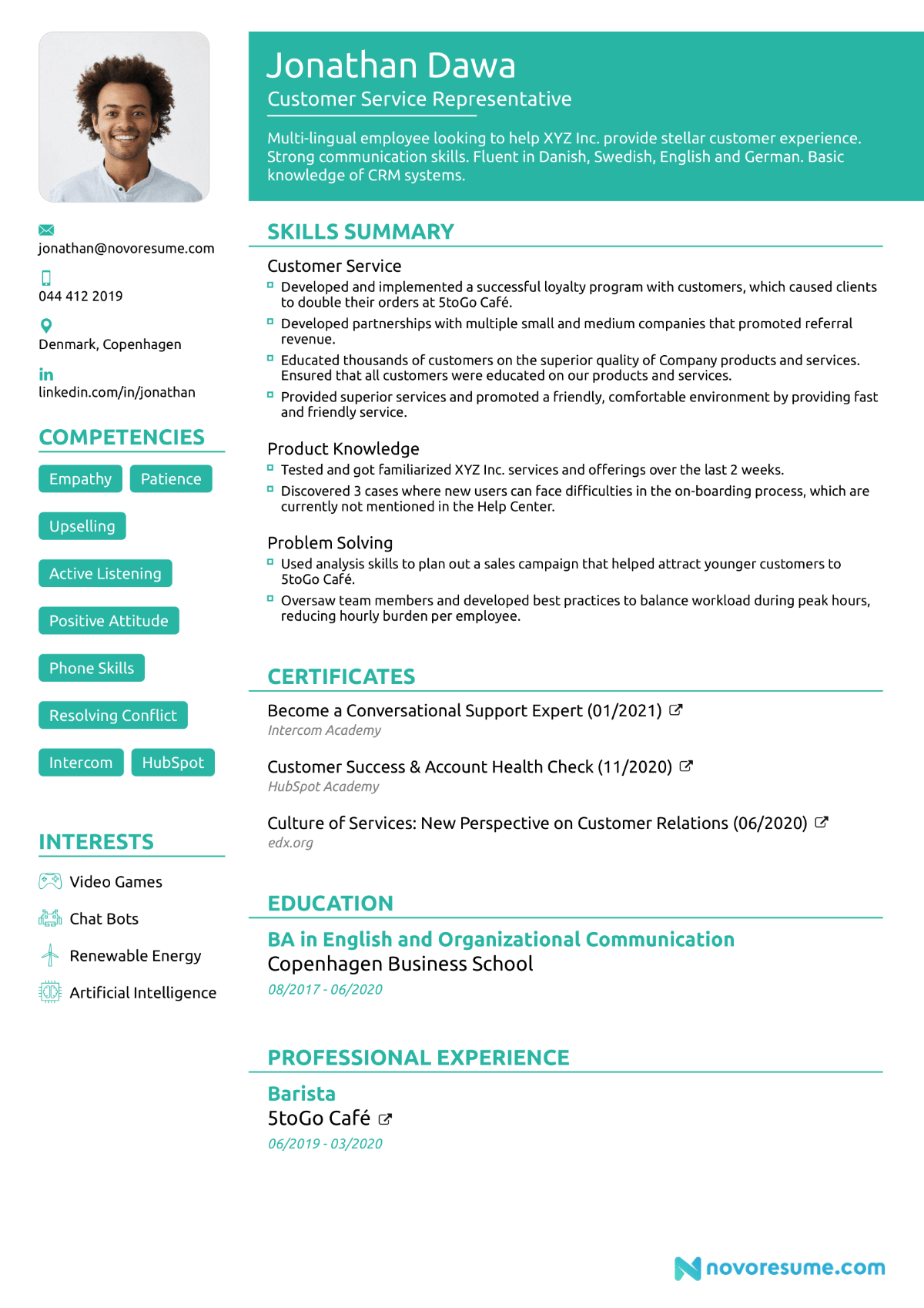 recent graduate resume sections