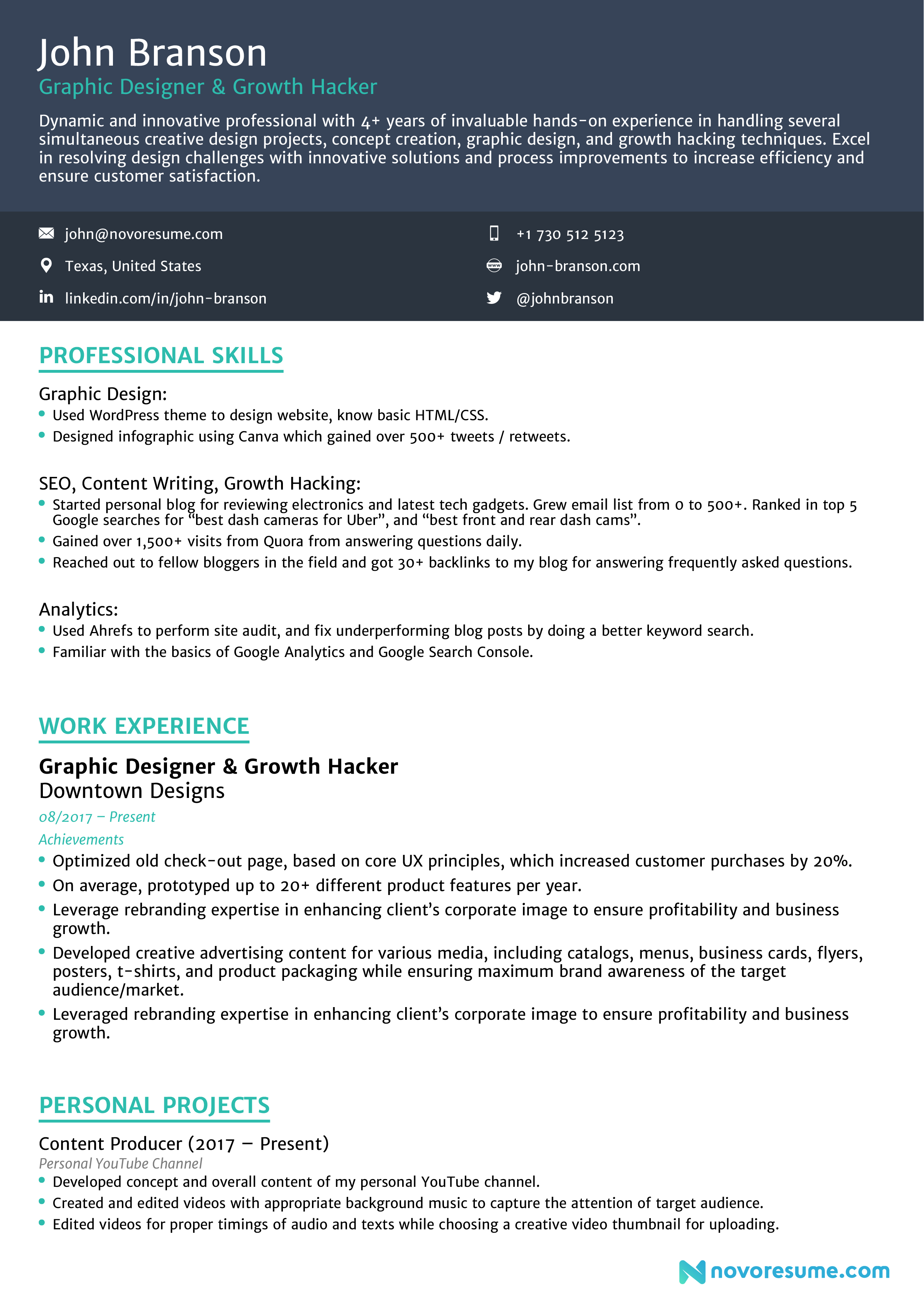 combination resume structure