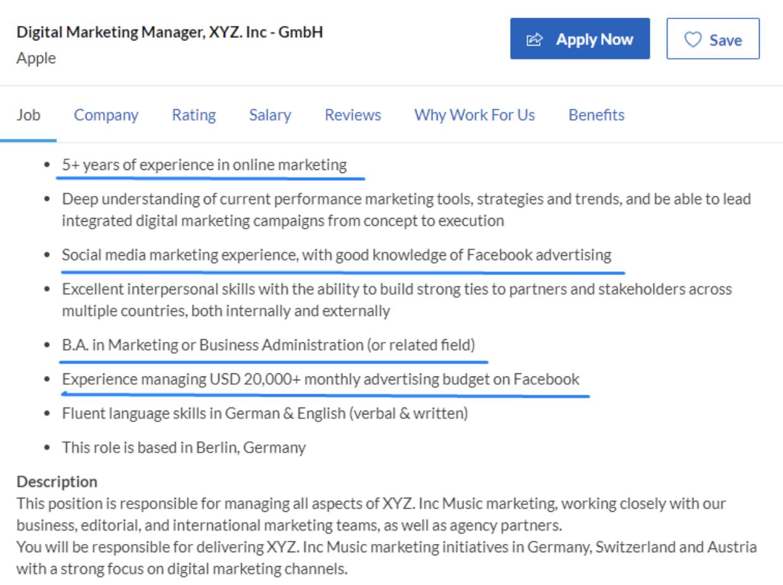 job ad example digital m