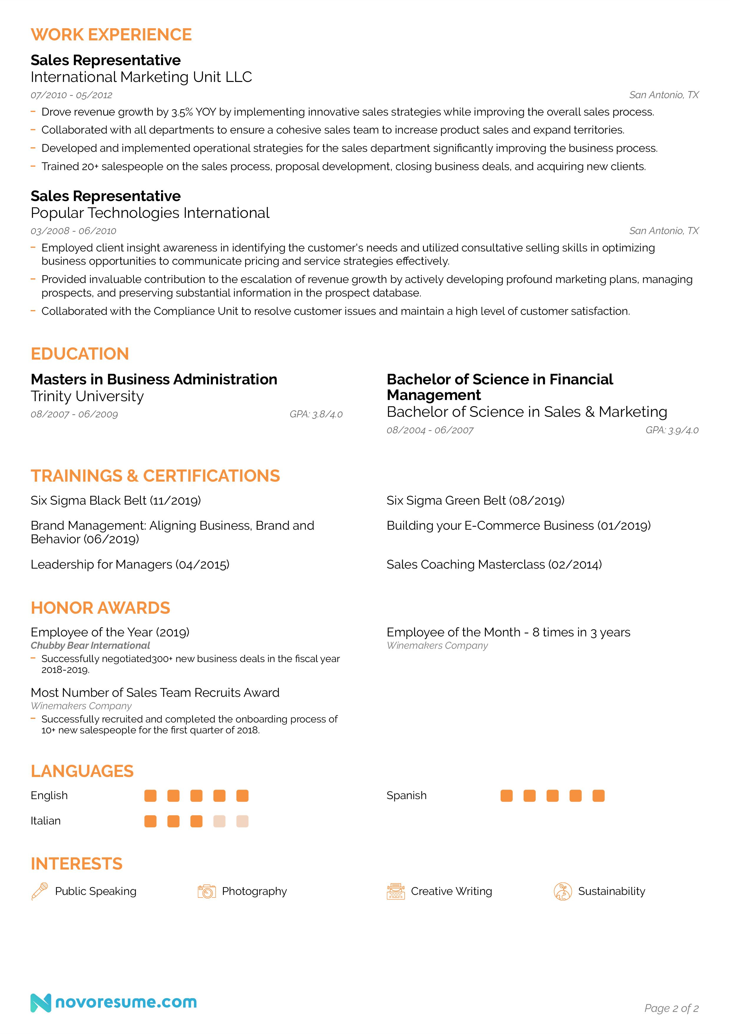 sales resume page 2