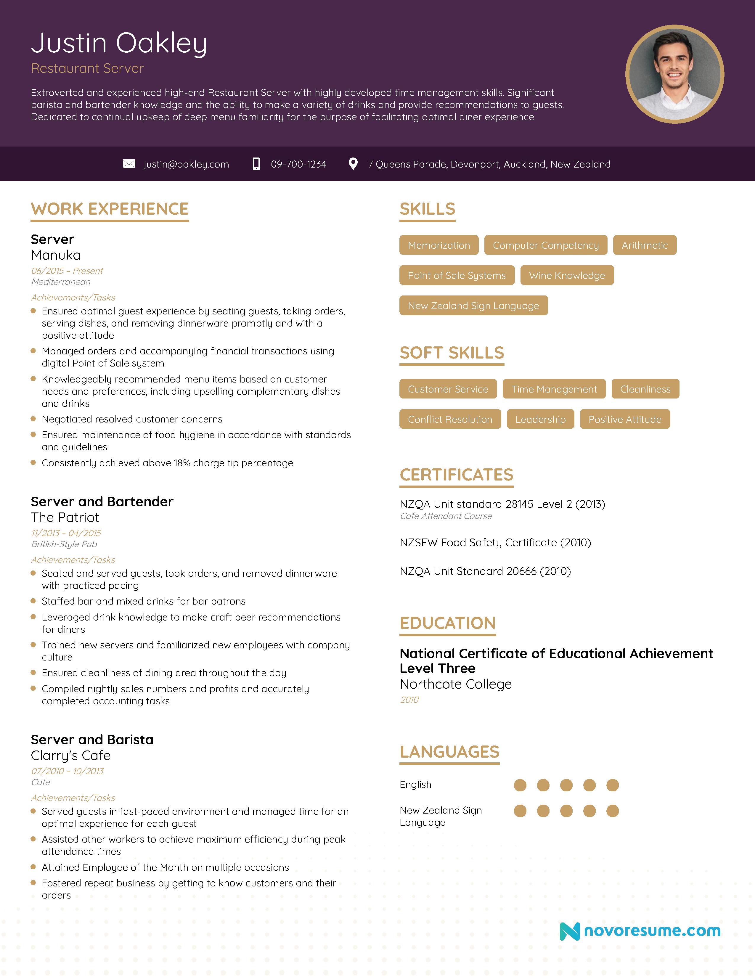 Job resume for servers house painter resume