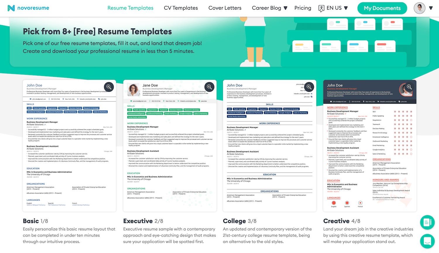 resume templates examples