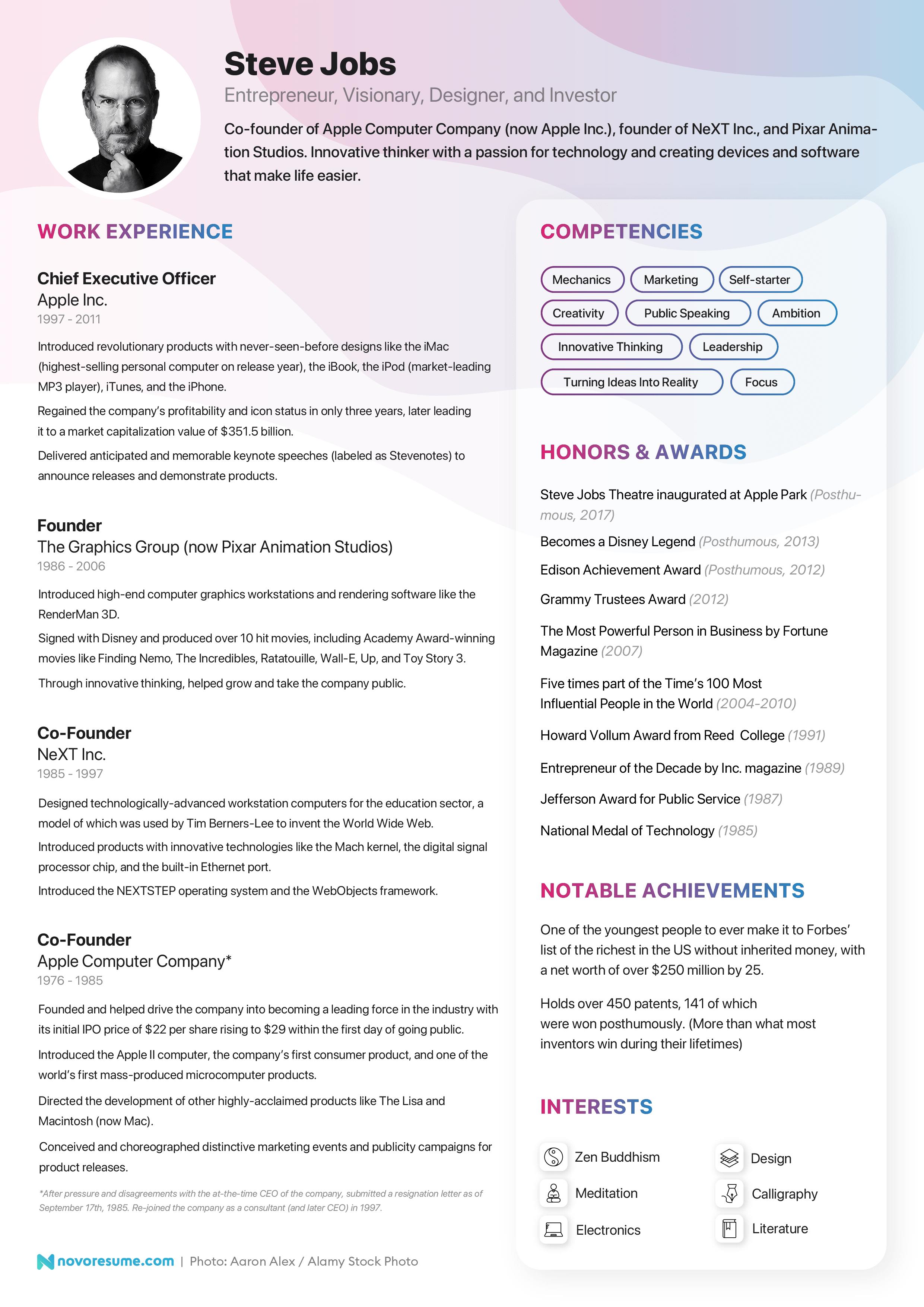 steve jobs resume