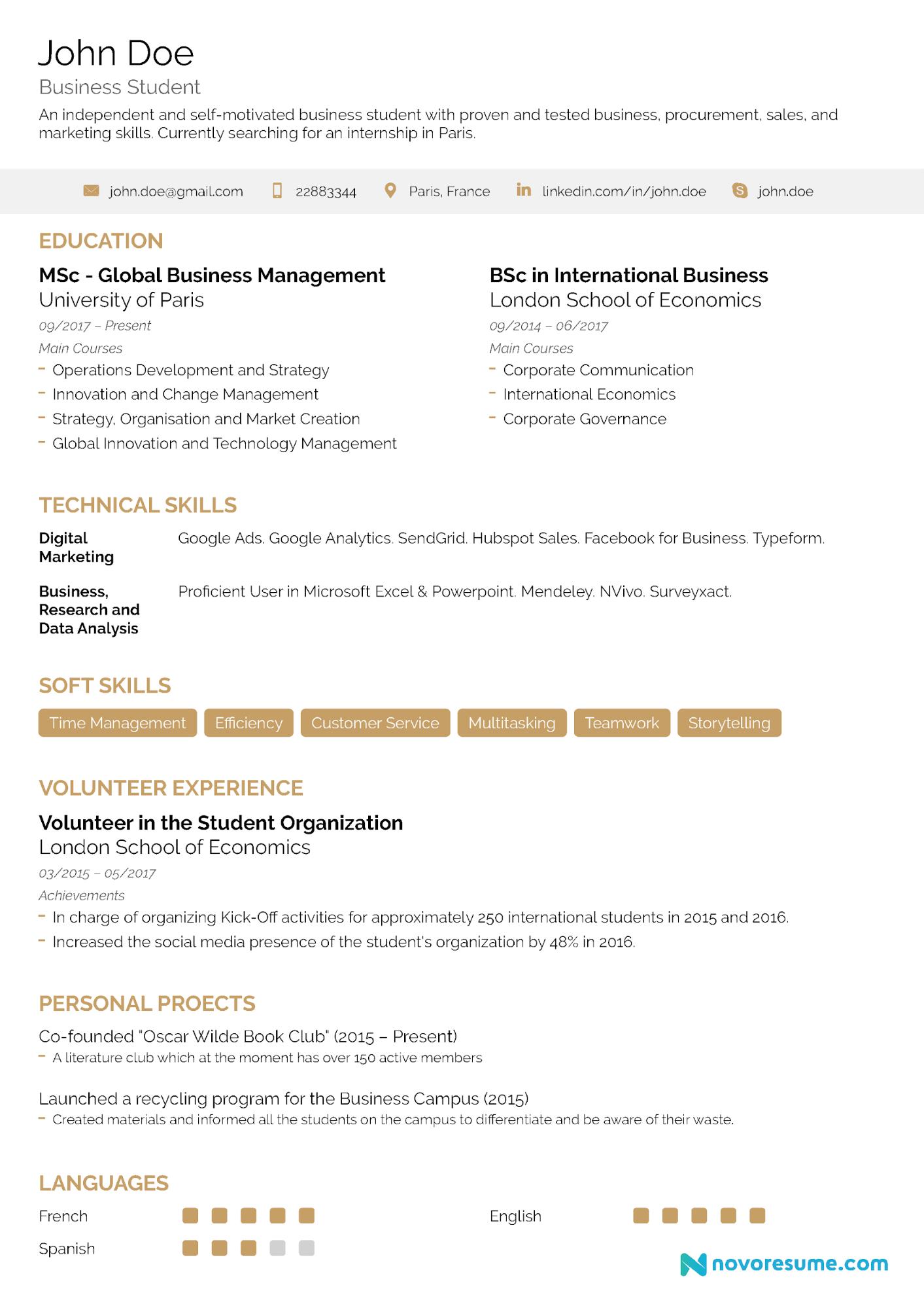 college resume sample