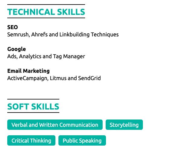 skills on student resume