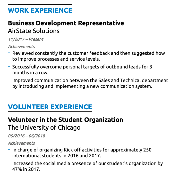 work experience on student resume