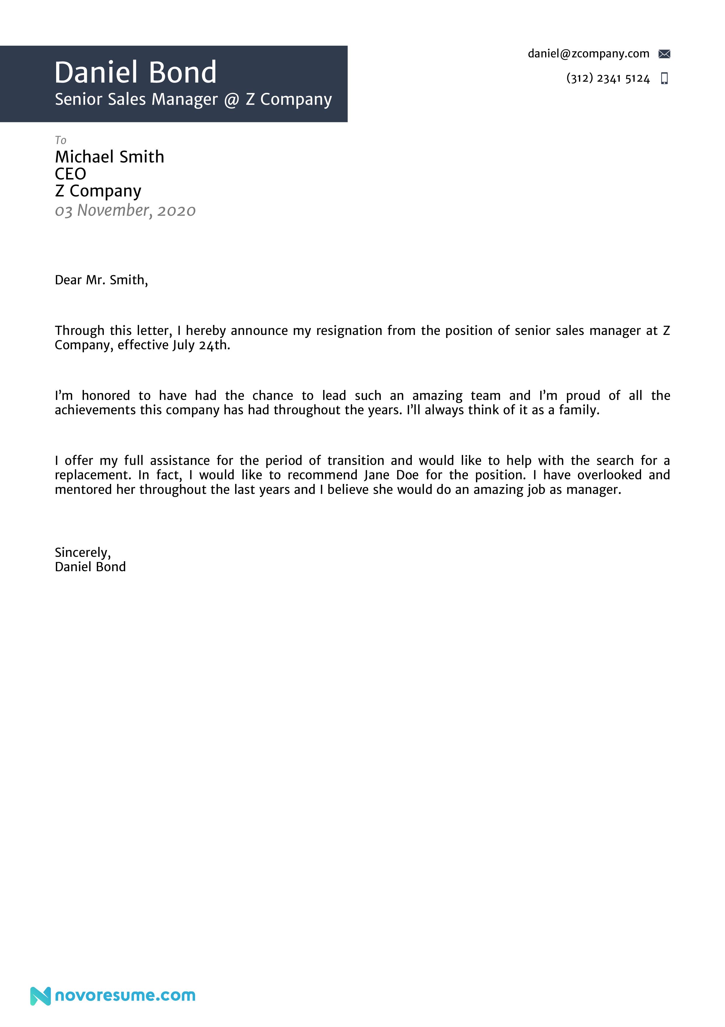 Resignation Letter Sample for a Manager