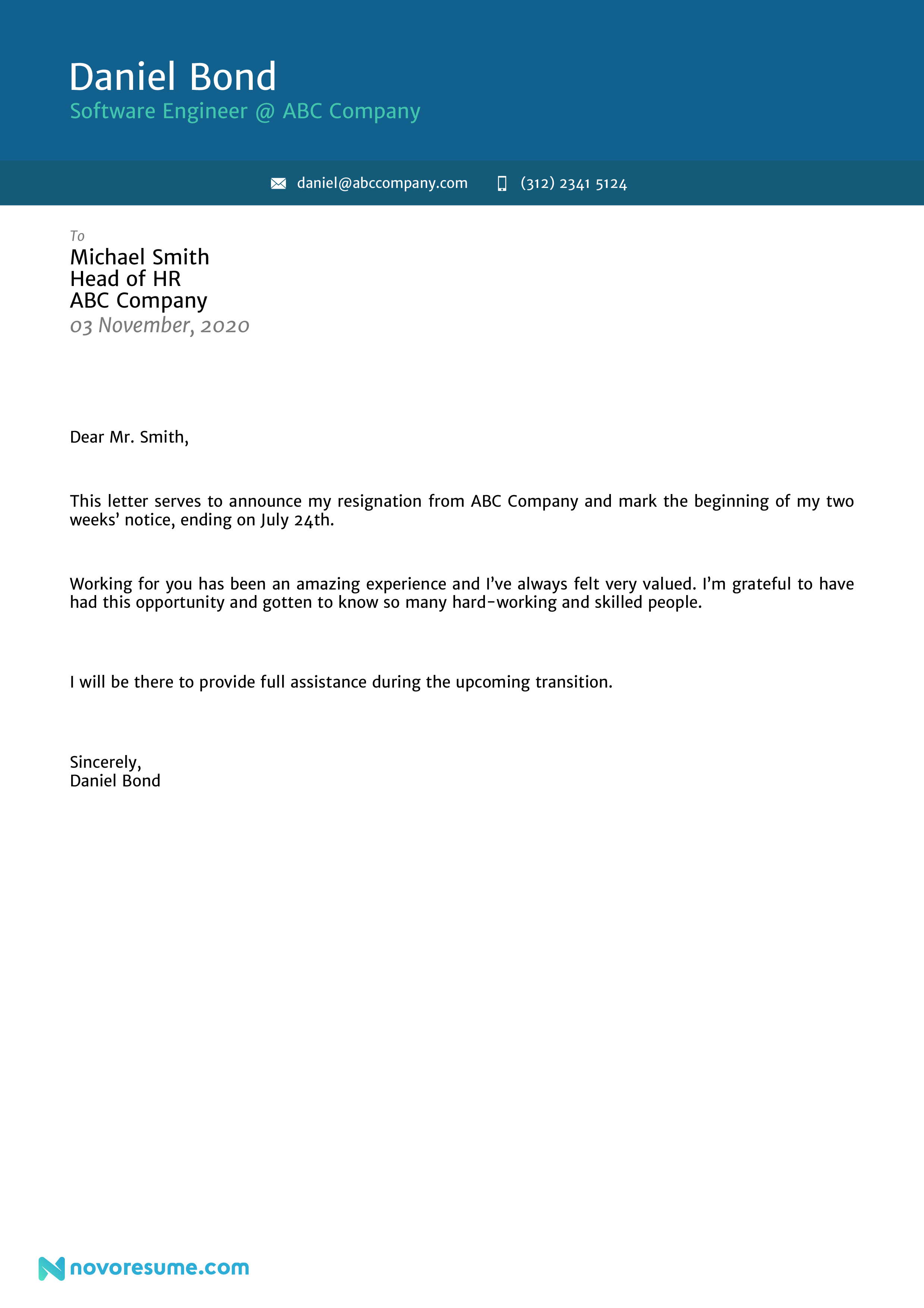 Resignation Letter Sample for a Mid Level Professional