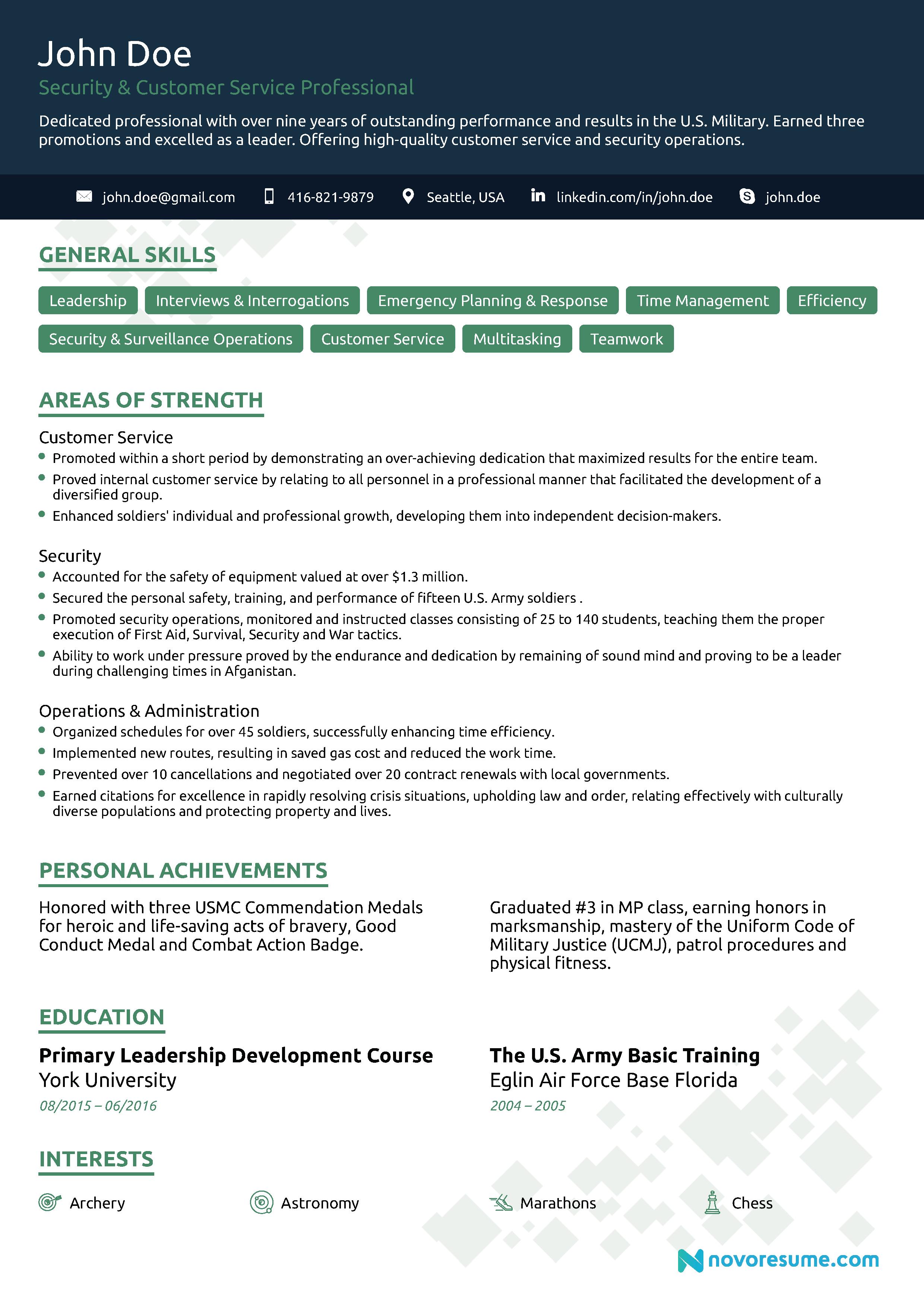 veteran jobs resume