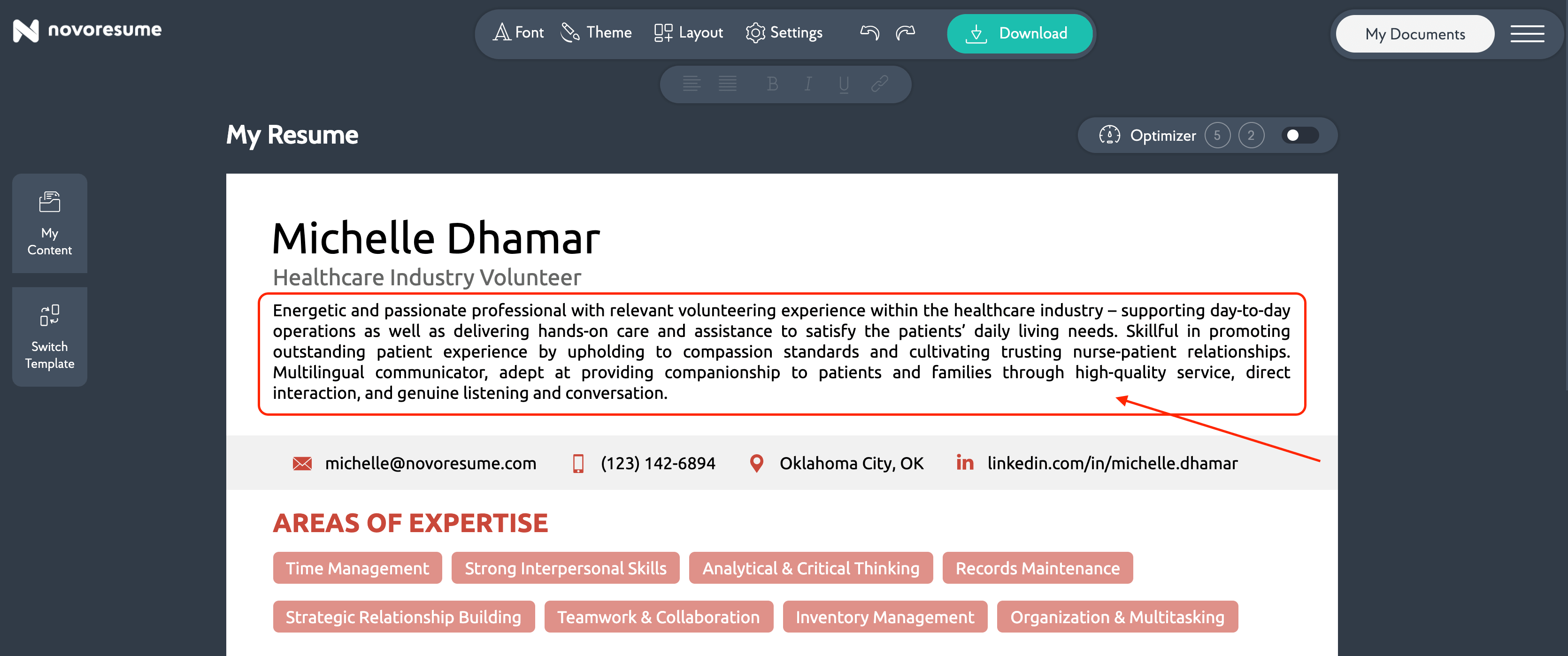 summary for volunteering resume