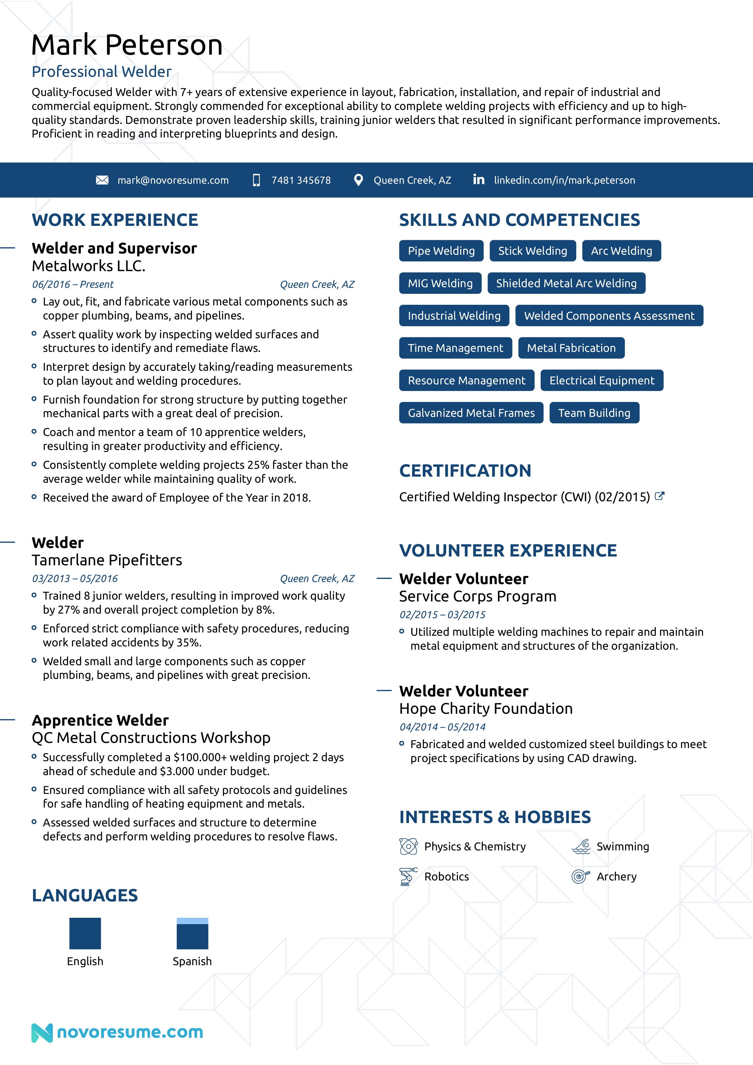 welder resume example