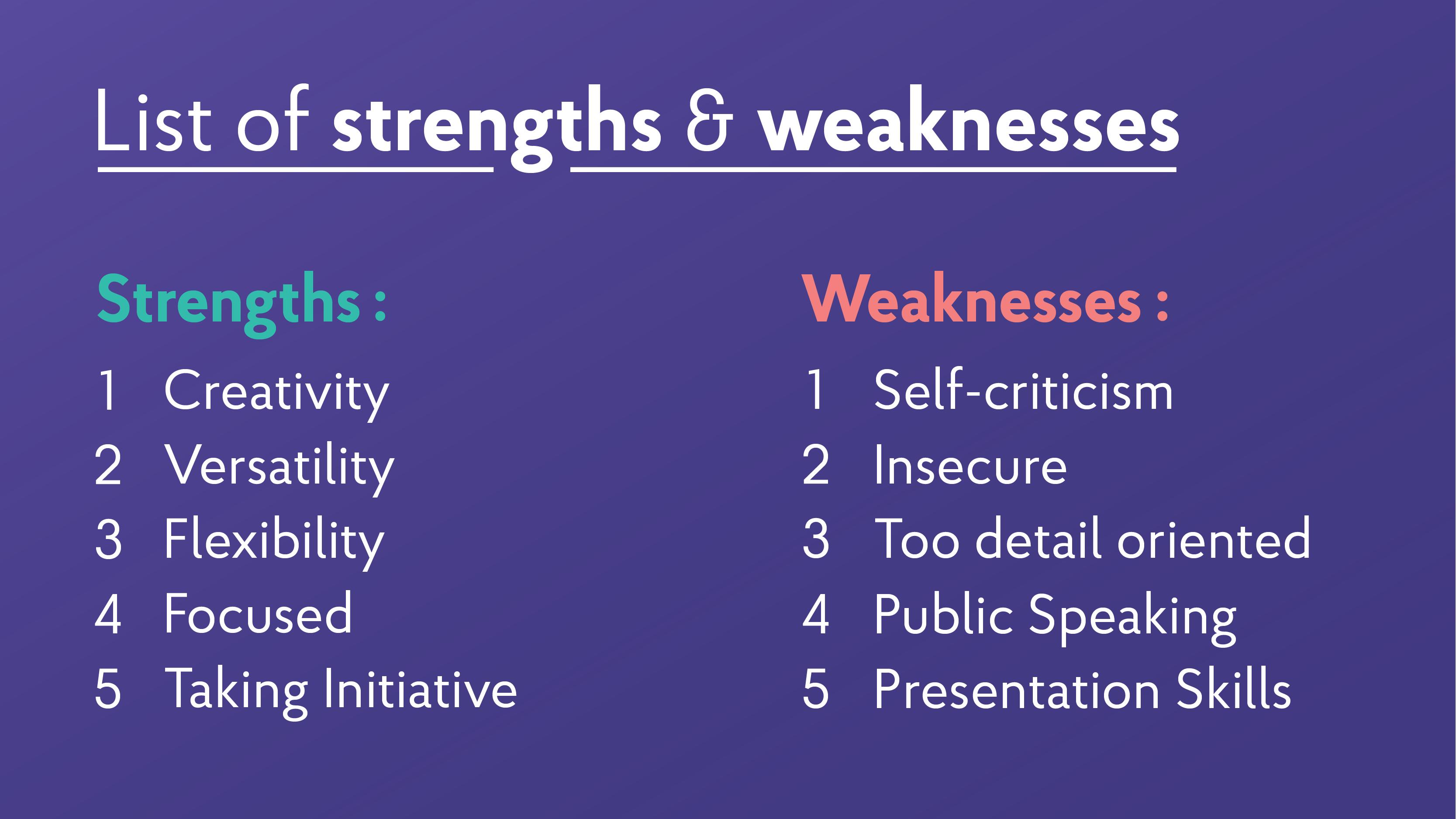 writing weakness in resume