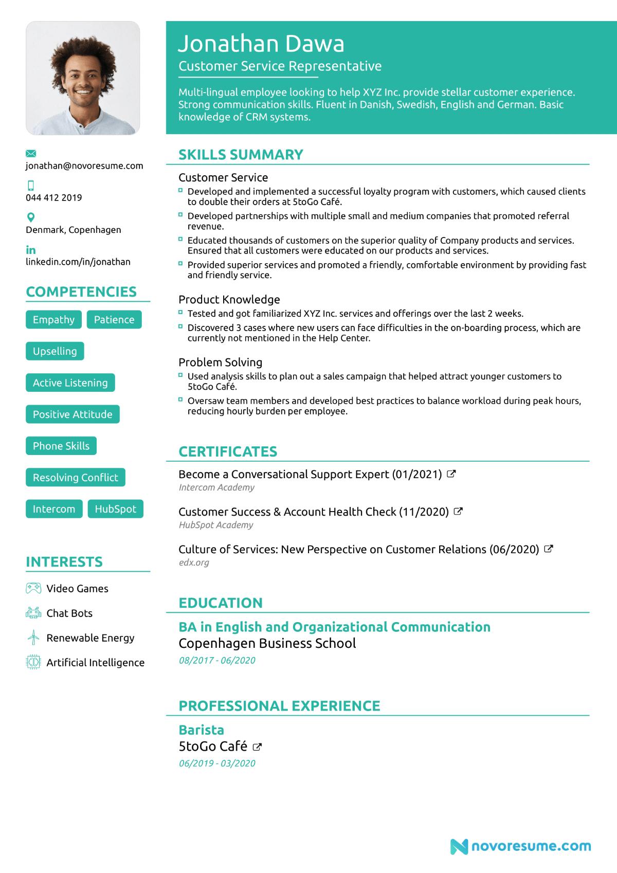 career change cv structure