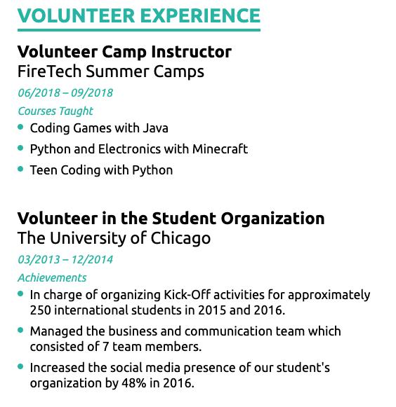 how to list volunteer on resume
