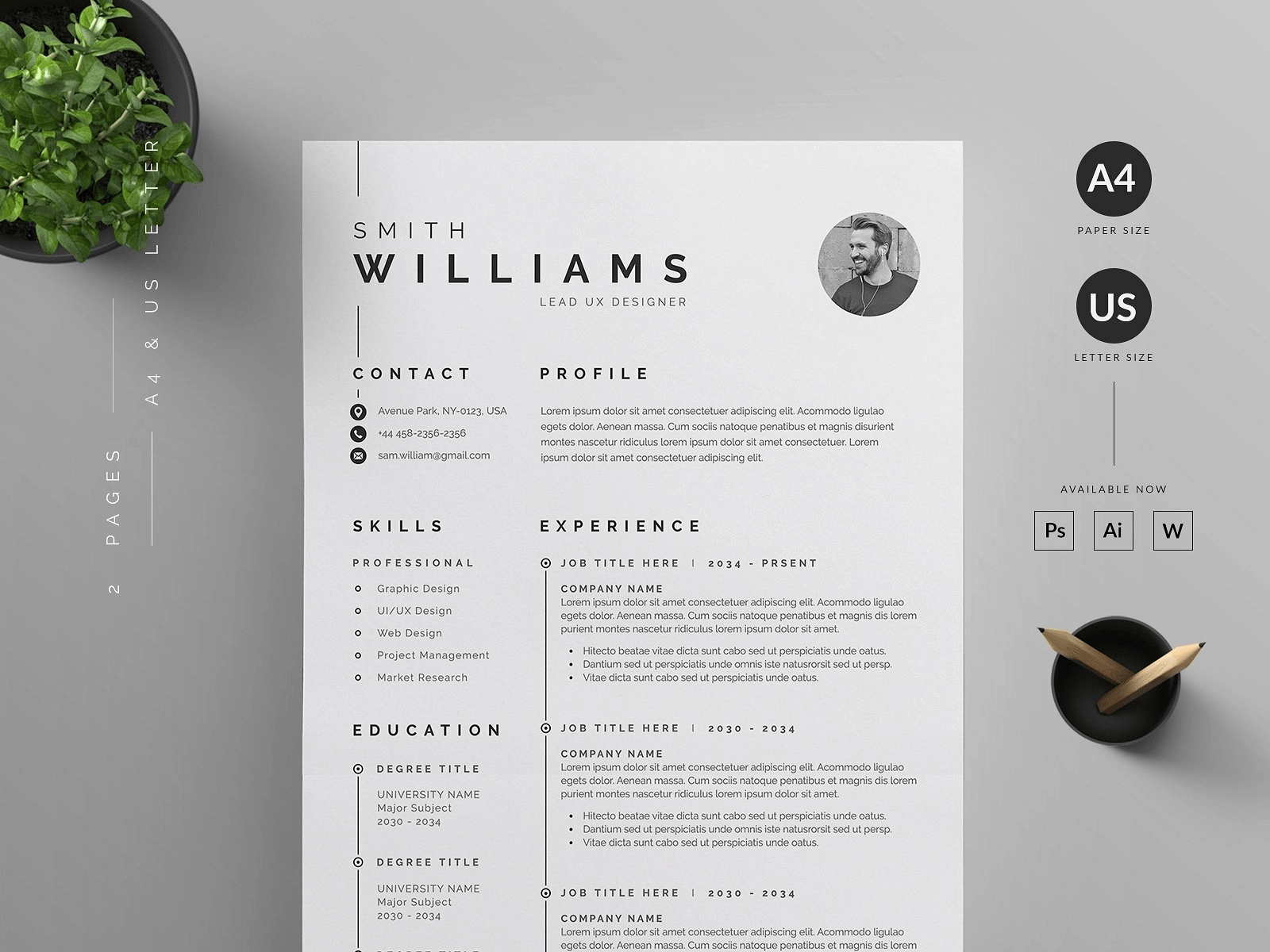 2 page word resume template