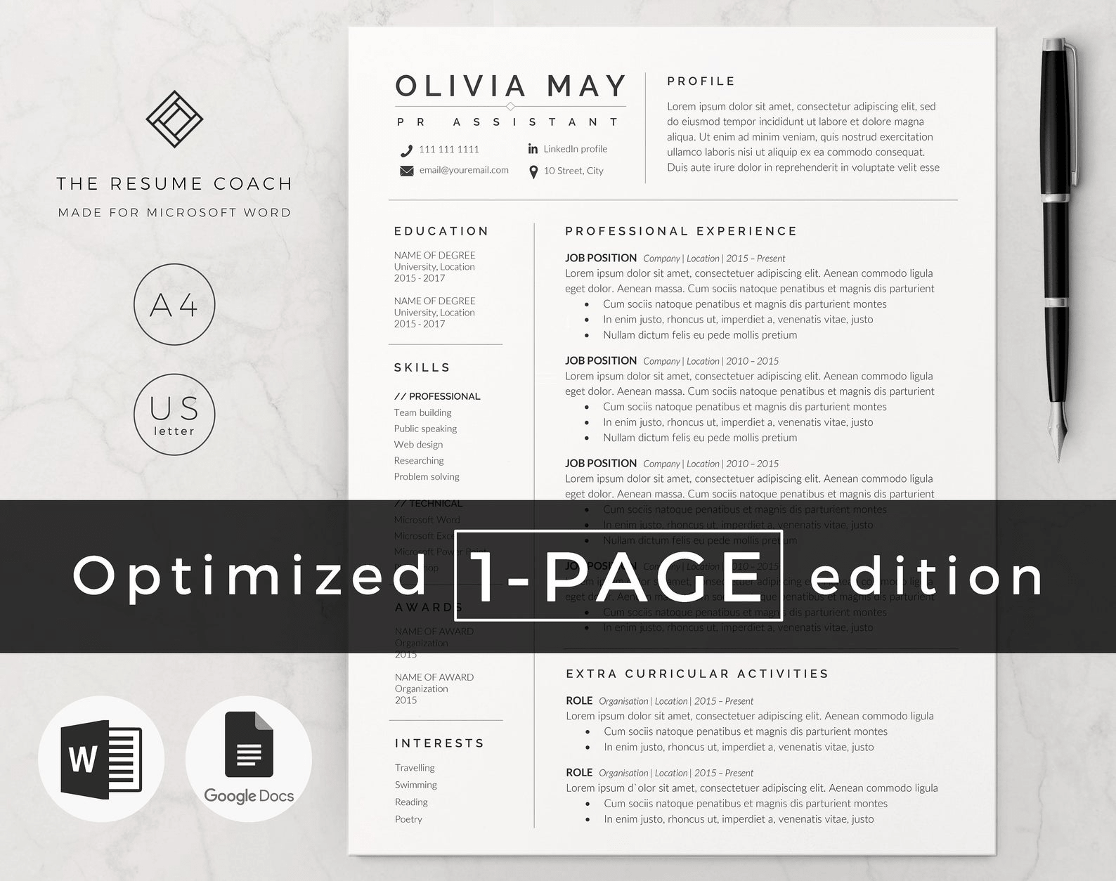 one page word resume template